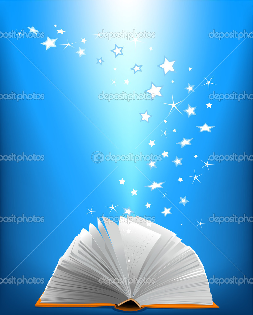 An opened magic book and shining stars — Stock Vector #3858955