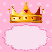 Princess Crown on pink background — Stock Vector