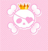 Pink Skull with crown — Stock Vector