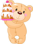 Teddy Bear with cake — Stock Vector