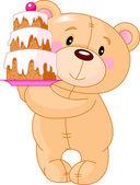 Teddy Bear with cake — Stock Vector