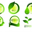 Collection of green eco-icons - Imagens vectoriais em stock