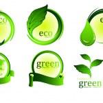 Yeşil Eko-simgeler koleksiyonu — Stok Vektör