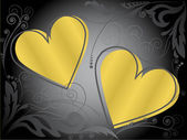Gold hearts — Stock Vector