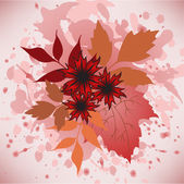 Autumn leaves and flowers — Stock Vector
