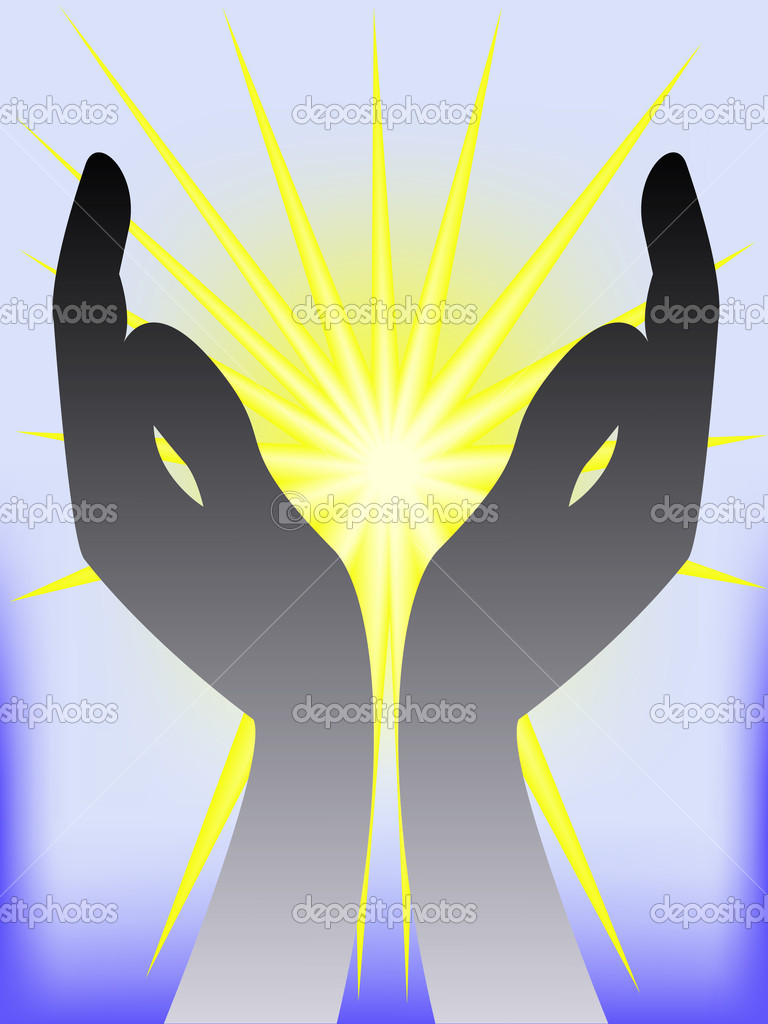 Black silhouette of two hands on the gleaming yellow-blue background — Stock Vector #3880638