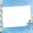 Blue background with branch of Sakura — Stock Photo