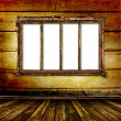 Old window on the antique wall - Stock Photo
