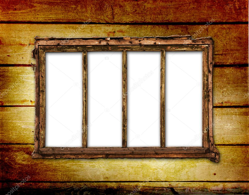 Old window on the antique wall with metal nail — Stock Photo #2821494