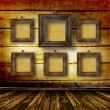 Old room, grunge  interior with frames - Stock Photo