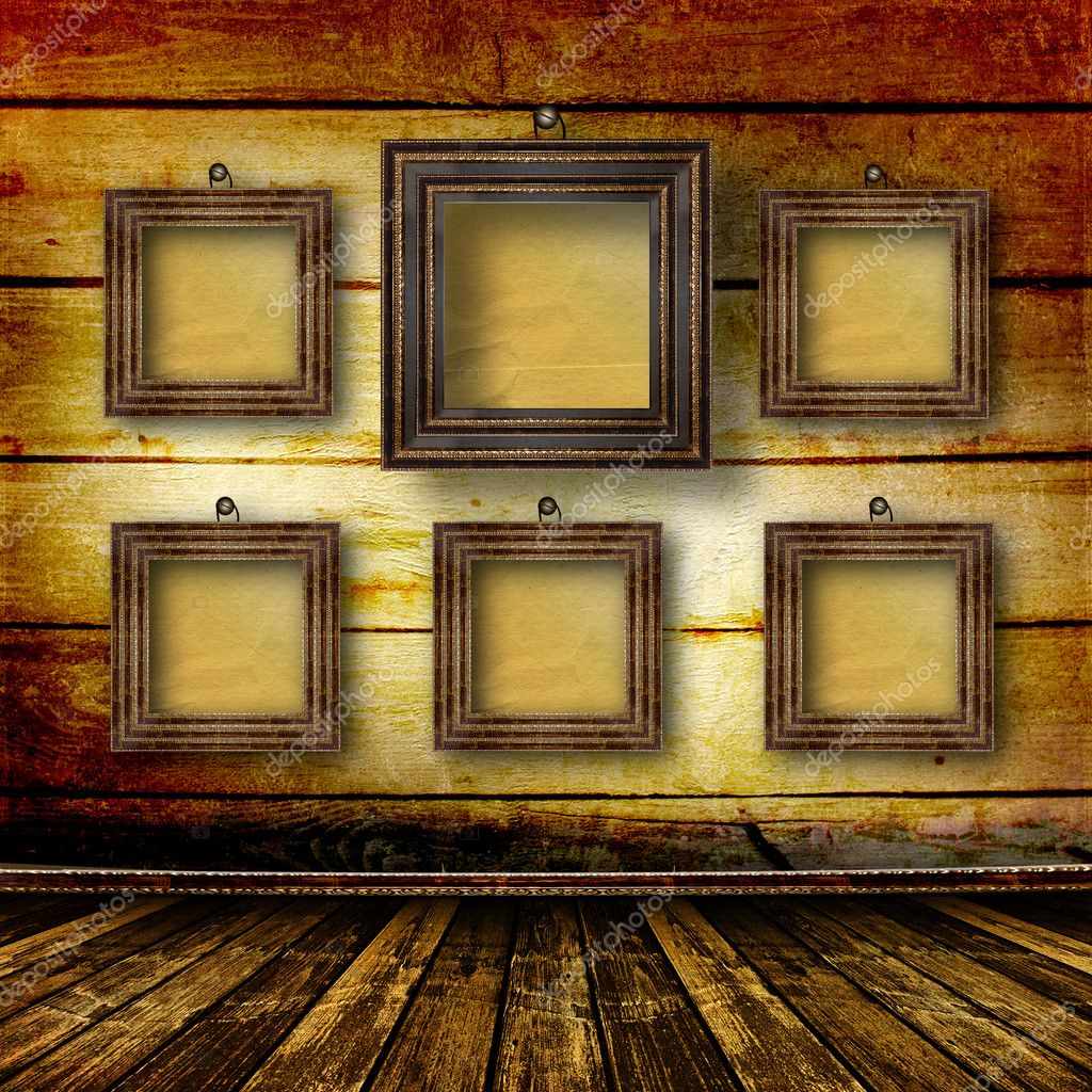 Old room, grunge  interior with frames in style baroque  Stock Photo #2905437
