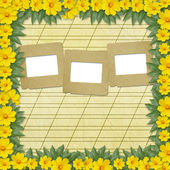 Congratulation with slides and flowers — Stock Photo