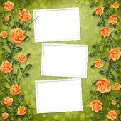 Grunge papier met schilderij roos — Stockfoto