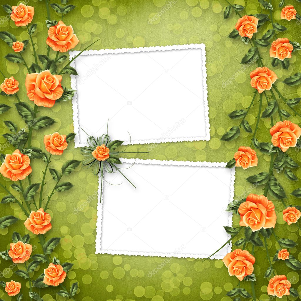 Grunge paper for congratulation with painting rose — Stock Photo #3036070