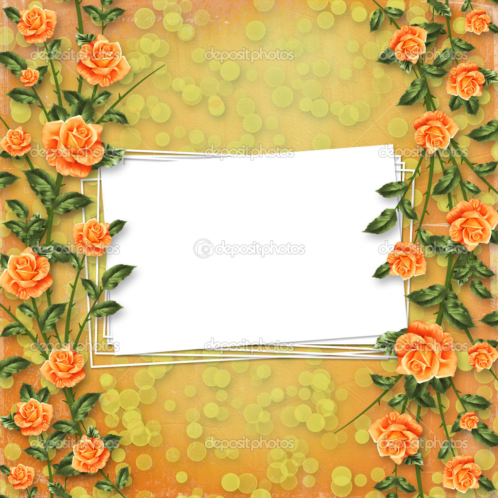 Grunge paper for congratulation with painting rose — Stock Photo #3036073