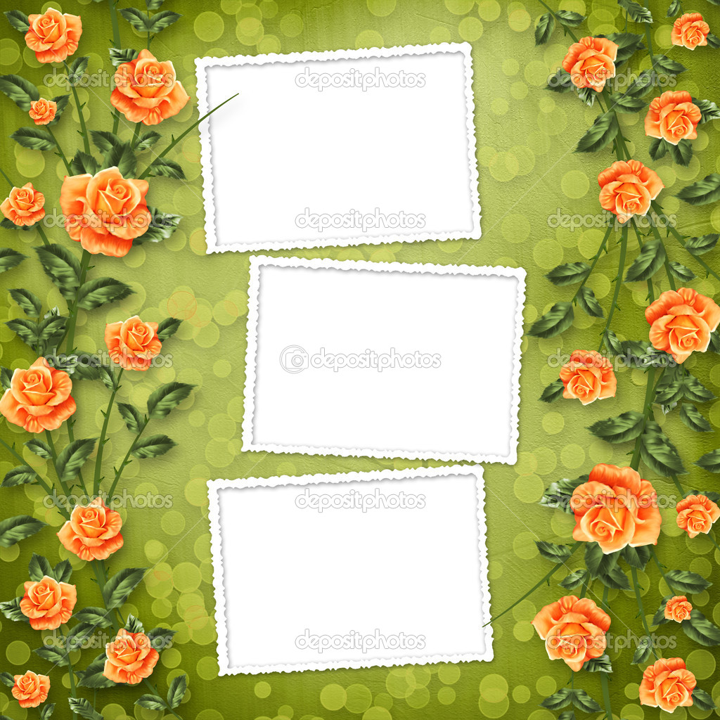 Grunge paper for congratulation with painting rose — Stock Photo #3039140