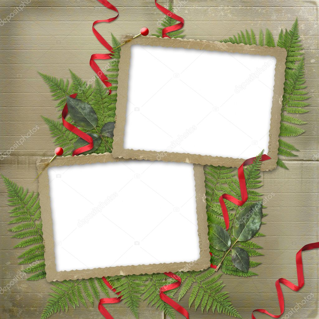 Framework for a photo. A red ribbons. A beautiful background.  Stock Photo #3047785