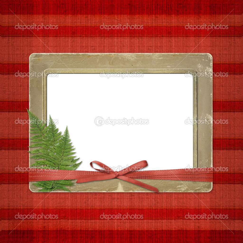 Framework for a photo or invitations. A red bow. A beautiful background. — Stock Photo #3047809
