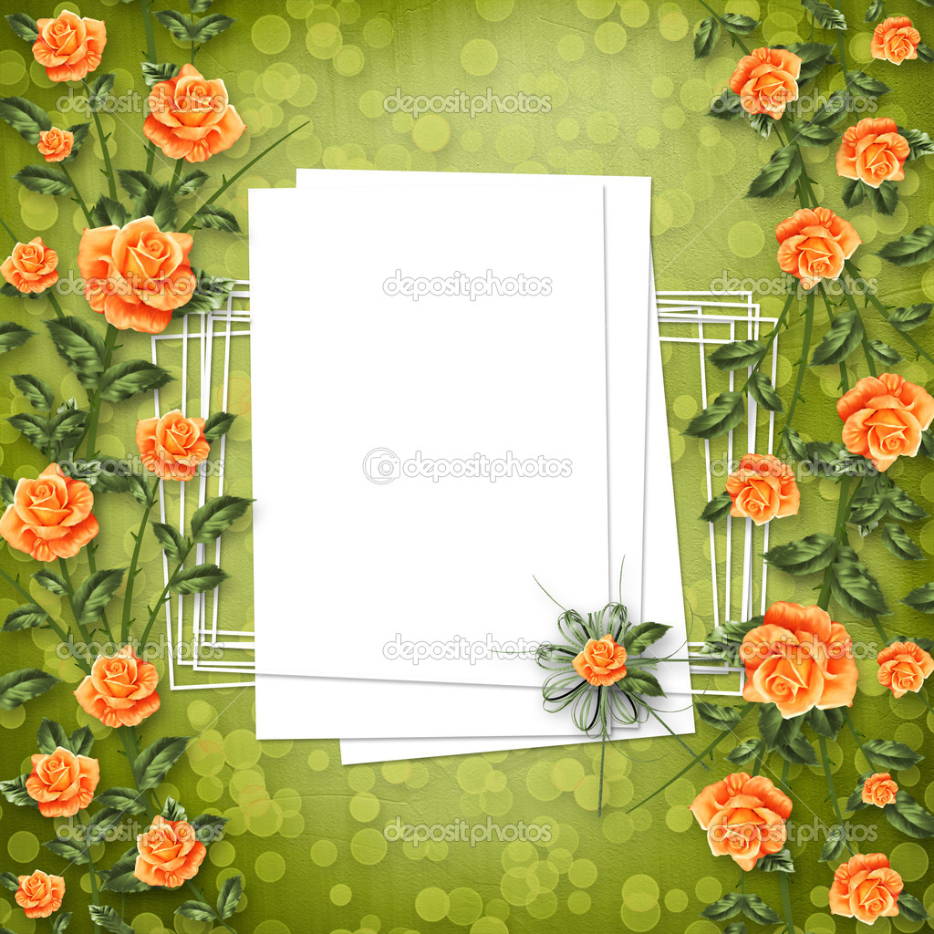 Grunge paper for congratulation with painting rose — Photo #3047972