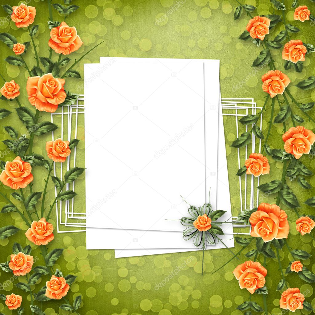Grunge paper for congratulation with painting rose — 图库照片 #3047972