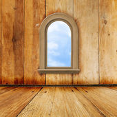 Old room, grunge interior with window — Stock Photo