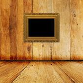 Old room, grunge interior with frame — Stok fotoğraf