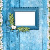 Cornice grunge con mazzo di fiori — Foto Stock