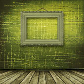 Old room, grunge interior with frame — Foto Stock