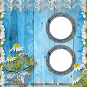 Grunge porthole with bunch of flower — Stock Photo