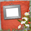 Grunge frame with bunch of flowers — Stock Photo