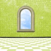 Camera vecchia, grunge interna con finestra — Foto Stock