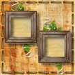 Grunge frames on the wooden background — Stock Photo