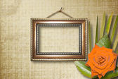 Grunge interior with frames in style baroque — Stock Photo