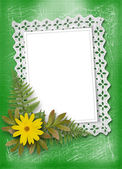 Lace frame with ribbons and beads for photo — Stock Photo