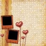kort för gratulationen eller inbjudan med hjärtan — Stockfoto