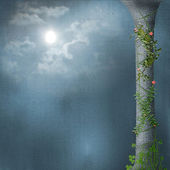 Stone column. Liana with flowers. Bright moon — Stock Photo