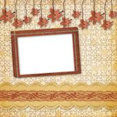 Vintage album met frame en sierlijke lace — Stockfoto