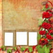 Card for congratulation or invitation with red roses — Stock Photo #3661852