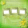 Stok fotoğraf: Grunge paper slides with flowers pumpkins