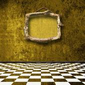 Gamla rum, grunge interiör med ramar i barock-stil — Stockfoto