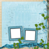 Grunge frame with beautiful beads and flowers — Stock Photo