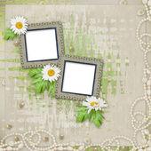 Grunge rám s krásný náhrdelník — Stock fotografie