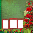 Card for congratulation or invitation with red roses — Stock fotografie