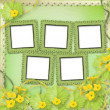 Grunge paper frames with flowers pumpkins — Stockfoto