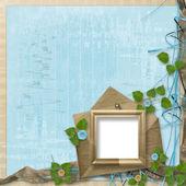 Güzel çiçekli grunge ahşap çerçeve — Stok fotoğraf