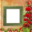Card for congratulation or invitation with red roses — Stock Photo