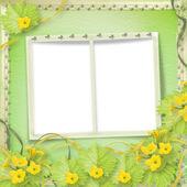 Cornici di carta grunge con zucche di fiori e nastri — Foto Stock