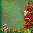 Card for congratulation or invitation with red roses — Stok fotoğraf
