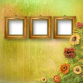 Grunge frame voor interieur met bos van bloemen — Stockfoto