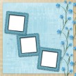 Grunge paper frame with beautiful blue orchids - Stock Photo